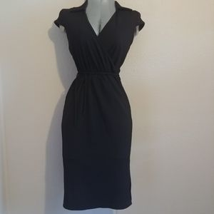 Ribbed Collared Black Chesley Dress Sz S